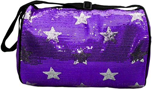 Purple Kids Bag - Gen SH Girl's Quilted Nylon Dance Duffle Bag with Sequin Stars, Purple