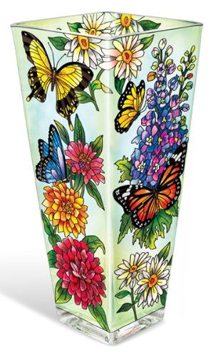 Amia 10-Inch Vase with Butterfly Design (Butterfly Flower Vase)