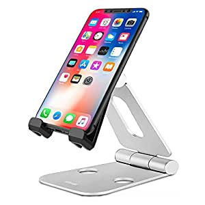 Phone Stand For Desk - Metal Design - Olixar Aspect Premium Universal Desk Stand - Foldable Design - Multi Angle - Cell phones and Tablets - Silver