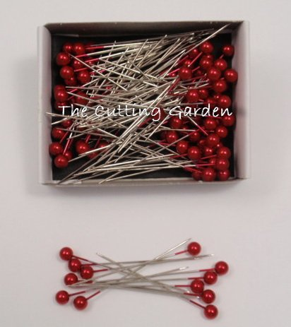 """Red Pearl Corsage / Boutonniere Pins 2"""" pk/144"""