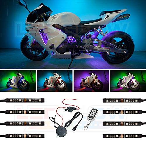 LEDGlow 8pc Advanced Million Color Mini Motorcycle LED Light Kit - Waterproof Flexible Light Strips - Includes Wireless Remote