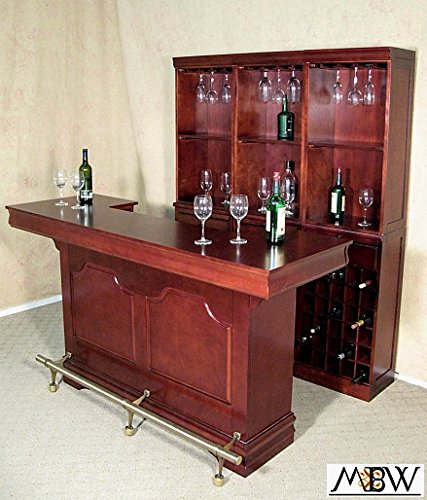 Coaster Cherry Wine Liquor Home Pub Bar w/ Dry Sink Front & Back 3078 & 3080-1 (Back Bar compare prices)
