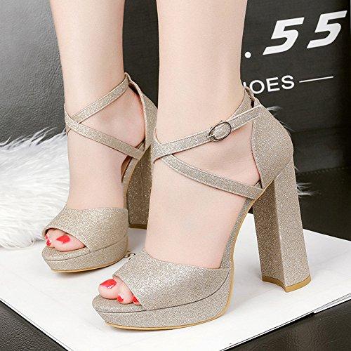 Block Sexy Heel Shoes Gold Aisun Strap High Toe Peep Platform Buckled Women's Sandals Sequined Club Cross 4xP5qw