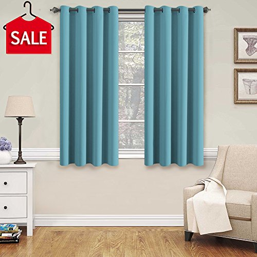 Aqua Curtain - H.Versailtex Blackout Aqua Curtains for Bedroom /Living Room, 52