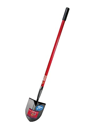 Bully Tools 92515 12 Gauge Round Point Shovel With Fiberglass Long Handle