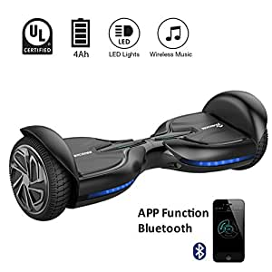 """Q3 EVERCROSS Hoverboard Diablo Smart Electric Scooter Two Wheels Self Balancing Electric Scooter 6.5"""" UL2272 Certified Smart Electric Personal Transportation Three Speed Modes Blurtooth&App (Black)"""