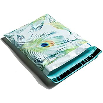 Poly Mailers Peacock Designer Mailers Shipping Envelopes Blue & Green Boutique Custom Bags #SmileMail (100 10x13)