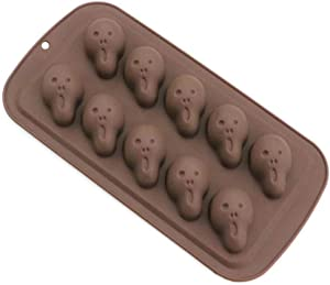 Wetco 10-Cavity Skeleton ghost Halloween Silicone Baking Chocolate Mold for Making Muffins, Puddings, Chocolates, Cakes, Candy