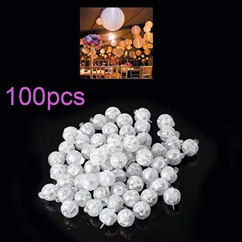 Paddsun 100pcs/lot 100 X White Round Led Flash Ball Lamp Balloon Light long standby time for Paper Lantern Balloon Light Party Wedding Decoration (Round Cover Pool Gold)