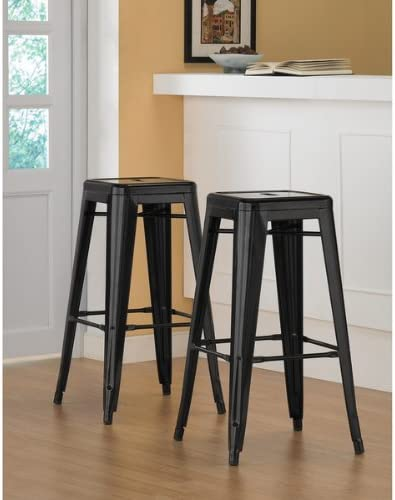 Tabouret 36700437 – 5756523 30-inch Black Metal Bar Stools Set of 2