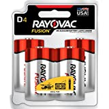 RAYOVAC D 4-Pack FUSION Advanced Alkaline Batteries, 813-4TFUSJ