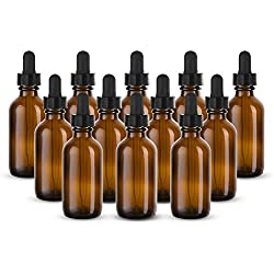 KooK 2 oz Amber Glass Bottles, With Glass Eye Droppers - (Set of 12)
