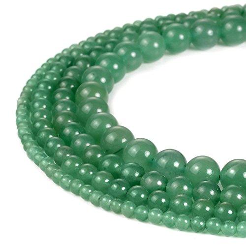 6mm Round Green Aventurine Beads Loose Gemstone Beads for Jewelry Making Strand 15 Inch (63-66pcs)