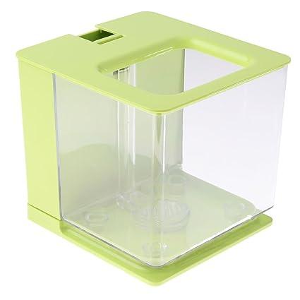 MagiDeal Pecera Cuadrada de Acrílico Accesorios Filtra Automáticamente Función de Circulación de Agua