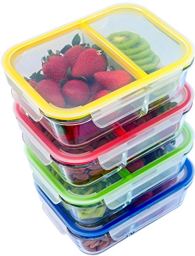 Glass Meal Prep Containers - 4-Pack 2 Compartment Food Storage Containers with Divider to the Top, 35oz. Includes Leak Proof Sauce Cups and Label Set | Microwave, Freezer, Oven & Dishwasher Safe