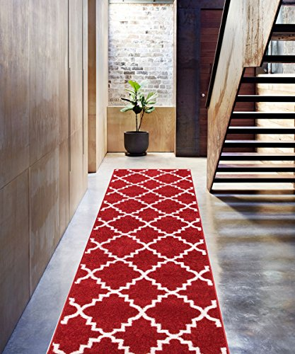 - Teracotta Redwood Rug Trellis Morrocan Modern Geometric Wavy Lines 3x10 (2'7