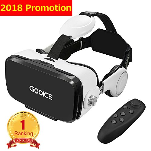 Gooice 3D VR Headset Virtual Reality Glasses,VR Goggles Built-in Stereo Headphones Microphone for 3D Movies Video Games Comfortable for iphone Samsung LG ZTE TCL Android Smartphones from 4.7-6.2 Inchs