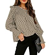 BLENCOT Womens Tops Summer Blouses Spring Shirts Ruffle Trimming Smocked Cuffs Trendy Elegant for...