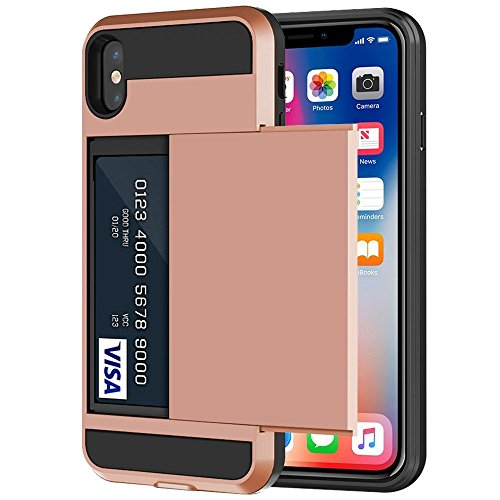iPhone X Case, iPhone 10 Case, Anuck Shockproof iPhone X Wallet Case [Slide Cover][Anti-scratch] Rugged Protective Shell Armor Soft Rubber Bumper Case with Card Holder Slot for iPhone X - Rose Gold