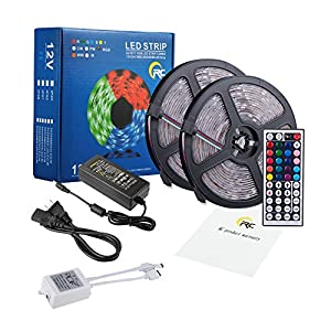 RC 32.8ft 10M Color Changing RGB LED Light Strip,Waterproof Flexible SMD5050 300LEDs with 44Key IR Remote Control and 12V 5A Power Adapter for Party,Holiday,Home and Outdoor