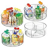 mDesign Divided Lazy Susan Turntable Storage Container for Cabinets, Pantries, Refrigerator, Countertops, BPA Free & Food Safe - Spinning Organizer for Kids/Baby/Toddler, 5 Sections - Pack of 4, Clear