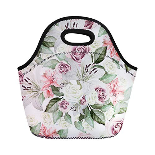 (Semtomn Neoprene Lunch Tote Bag Colorful Bright Watercolor Flowers Lilies Roses Leaves and Alstroemeri Reusable Cooler Bags Insulated Thermal Picnic Handbag for Travel,School,Outdoors, Work)