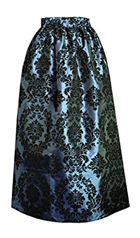 Victorian Steampunk Gothic Civil War Medieval Renaissance Patterned Skirt (Turquoise) - Taffeta Upholstery