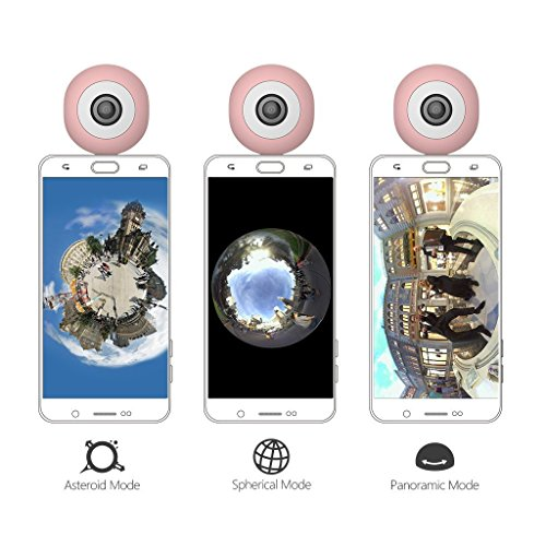 Dovewill Dual 210° Fisheye Lens HD VR Camera for Android Phone Live Seamless Stitching Pink by Dovewill (Image #6)