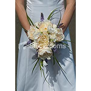 Lovely Ivory David Austin Rose Bridal Bouquet with White Freesia