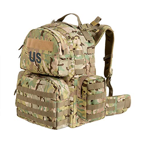 Akmax.cn US Molle II Medium Rucksack with 2X Sustainment Pouch,Assault Pack,Bug Out Bag for Camping Hunting Hiking Multicam