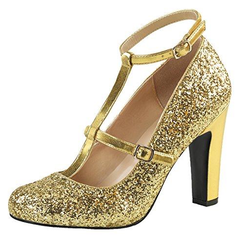 Heels-Perfect - Pantuflas de caña alta Mujer Gold (Gold)