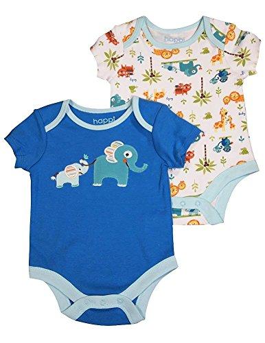 Happi by Dena - Baby Boys 2 Piece Short Sleeve Bodysuit Set, White, Blue 34822-0-3Months
