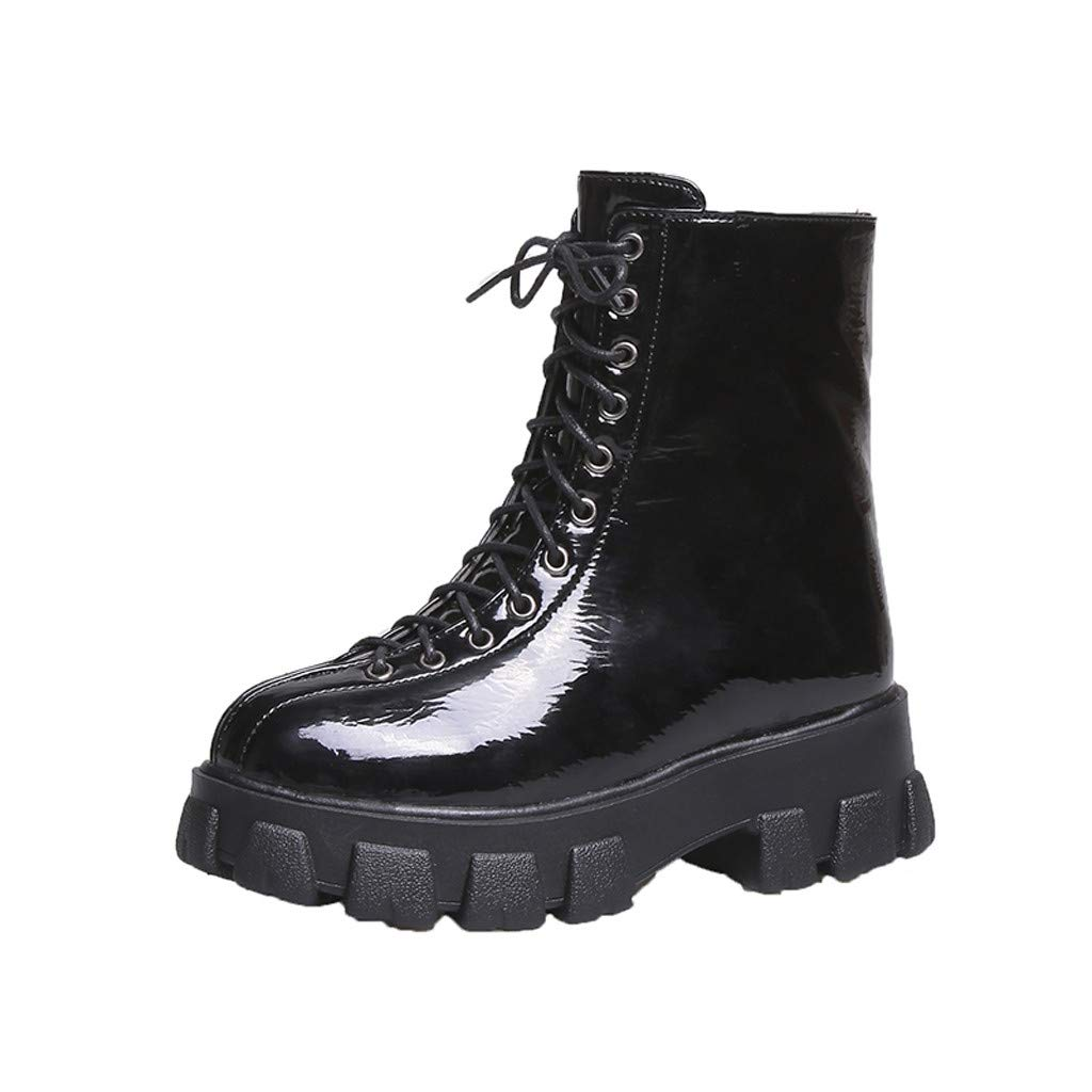 Fheaven Women Fashion Short Boots Casual Thick-Soled Platform Flat Shoes Lace-Up Motorcycle Boots Riding Boots Black by Fheaven-shoes