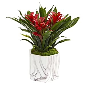 Nearly Natural 8139-RD Bromeliad Artificial Marble Finished Vase Silk Plants, Red 6