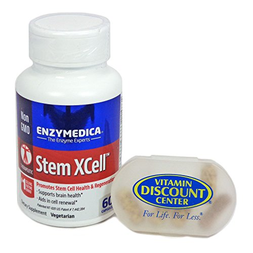 Bundle: 1 Bottle of StemXCell by Enzymedica - 60 Capsules and 1 VDC Pill Box