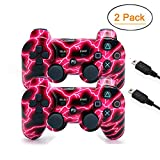 [2 Pack] Wireless Double Vibration Game Controller Bluetooth Sixaxis Gamepad Remote for PS3 Playstation 3 [Gift 2...