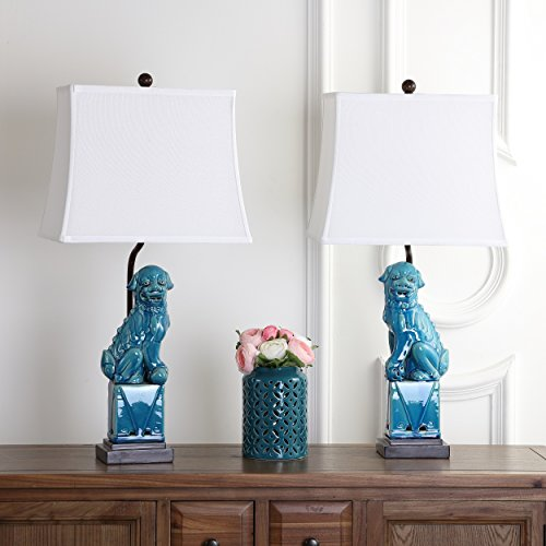 Safavieh Lighting Collection Foo Dog Blue 28-inch Table Lamp (Set of 2)