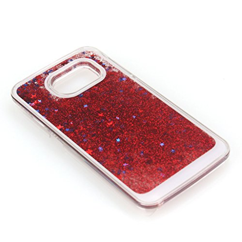 AENMIL Galaxy S6 Glitter Case, Samsung S6 Bling Cover, 3D Bling Quicksand Glitters Stars Liquid Transparent Hard Back Case Cover for Samsung Galaxy S6 G9200 (Red)