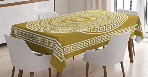 (Ambesonne Greek Key Tablecloth, Frieze with Vintage Ornament Meander Pattern from Greece Retro Twist Lines, Dining Room Kitchen Rectangular Table Cover, 60