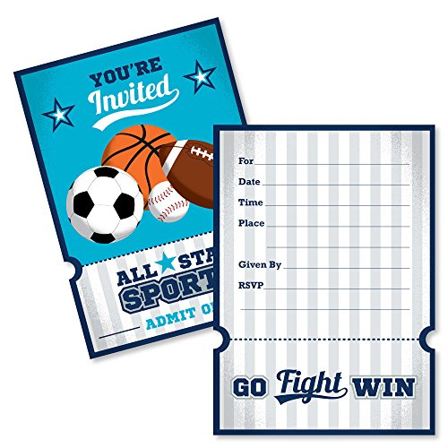 Go, Fight, Win - Sports - Shaped Fill-in Invitations - Baby Shower or Birthday Party Invitation Cards with Envelopes - Set of -