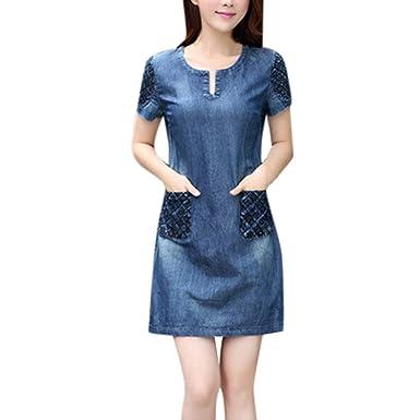 2c2b06e1eef4e2 Oksea Jeanskleid Damen Sommer Denim beiläufiges Elegantes Cowboy Abschnitt  Jeans Kleid mit Taschen Damen Kleid