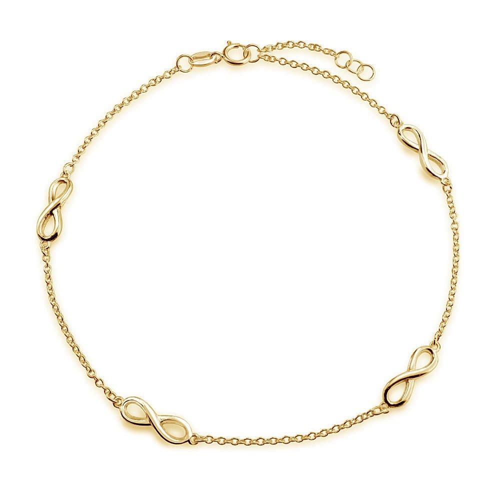 Bling Jewelry Argent 925 plaqué or Figure 8 L'Infini Chevillère Lien 10in PMR-A10140GPFXBL