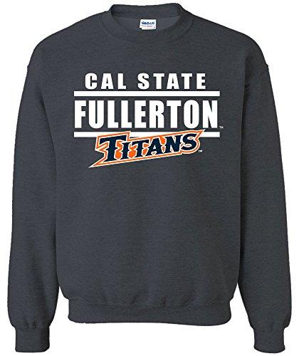 NCAA Cal State Fullerton Titans Adult Unisex NCAA Bars Logo Crewneck Sweatshirt,Medium,DarkHeather