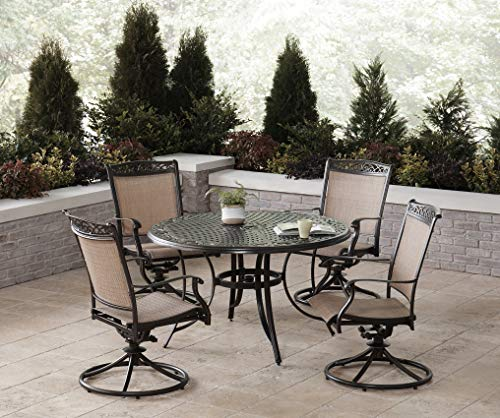 Hanover Fontana 5-Piece Dining Set with 4 Sling Swivel Rockers and a 48-in. Cast-Top Table, FNTDN5PCSWC Outdoor Furniture, Tan (Furniture Cast Sling Aluminum Patio)