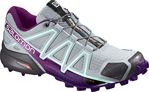Salomon Damen Speedcross 4 Traillaufschuhe Grau (cava / Acai / Fair Aqua 000)