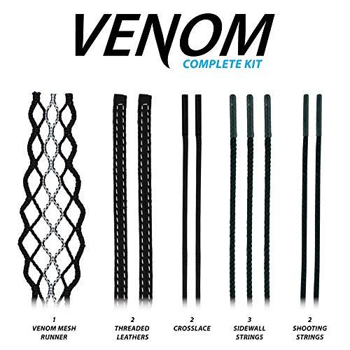 East Coast Dyes ECD Venom Mesh Runner Women's Lacrosse Mesh Stringing Kit Black with White Striker