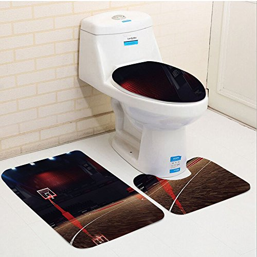 Keshia Dwete three-piece toilet seat pad customSports Picture of Empty Basketball Court Sport Arena with Spot Lights and Wood Floor Brown Black and Red (Bath Court Light)
