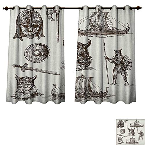 PriceTextile Viking Blackout Thermal Curtain Panel Ancient War Figures Sword Shield and Warriors Mask Dragon Head Ship Medieval Patterned Drape for Glass Door Dark Brown White Size W52 xL63 -
