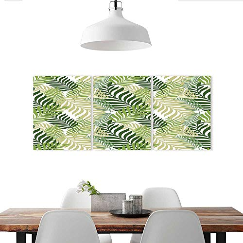 Auraise-home Triptych Art Set Tropical with Palm Leaves Decorate Stickers for - Tropical Triptych