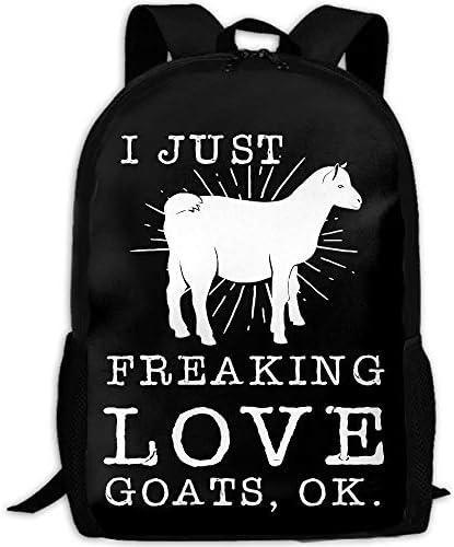 vfrtg Ich nur Freaking Love Goats Ok Interesse drucken benutzerdefinierte einzigartige lässige Rucksack Schultasche Reise Daypack Geschenk
